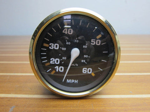 "OMC Johnson Evinrude 775664 Genuine OEM 4"" Black Illuminated 60 MPH Speedometer"