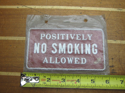 "Bernard FP-032 Positively No Smoking Allowed Sign Engraving 3""x5 1/2"" Red White"