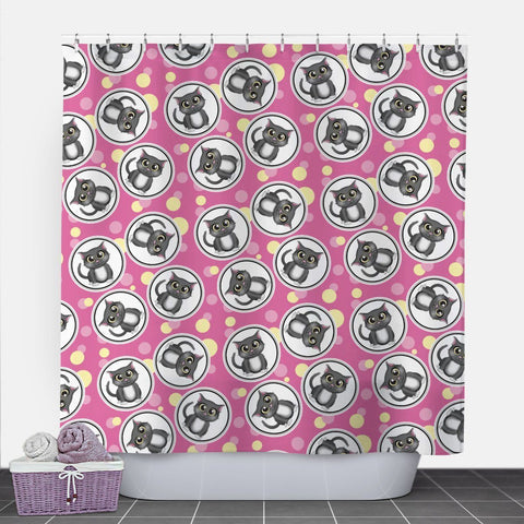 pink and yellow shower curtain. Cute Cat Fuchsia And Yellow Shower Curtain  71 Curtains Online At Speckle Rock
