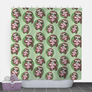 Happy Sloth Pink Heart Green Shower Curtain