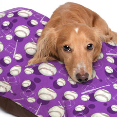 Purple Baseball Themed Pattern Dog Bed - 3 Sizes
