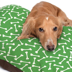 White Dog Bone Pattern Green Dog Bed - 3 Sizes
