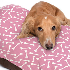 White Dog Bone Pattern Pink Dog Bed - 3 Sizes