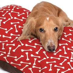 White Dog Bone Pattern Red Dog Bed - 3 Sizes