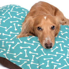 White Dog Bone Pattern Turquoise Dog Bed - 3 Sizes