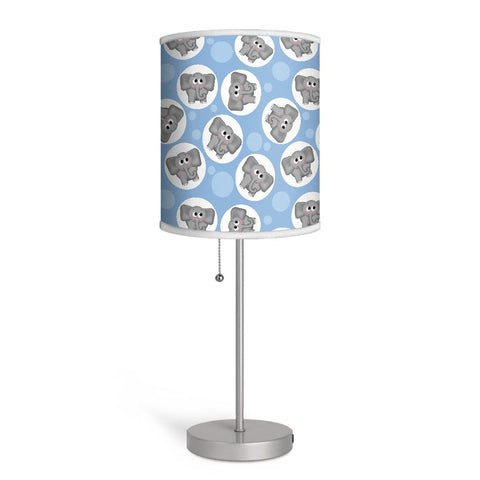 Adorable Elephant Pattern Blue Nursery or Kids Room Lamp at Speckle Rock