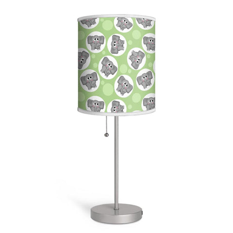 Adorable Elephant Pattern Green Nursery or Kids Room Lamp at Speckle Rock