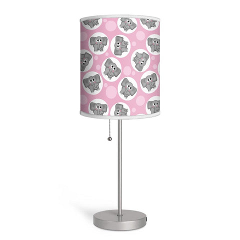 Adorable Elephant Pattern Pink Nursery or Kids Room Lamp at Speckle Rock