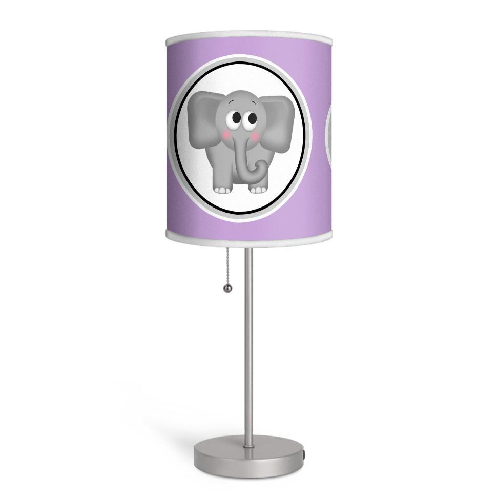 Adorable Elephant Purple Nursery or Kids Room Lamp at Speckle Rock