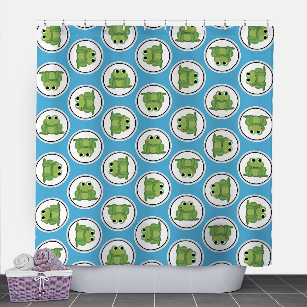 Adorable Frog Blue Shower Curtain at Speckle Rock