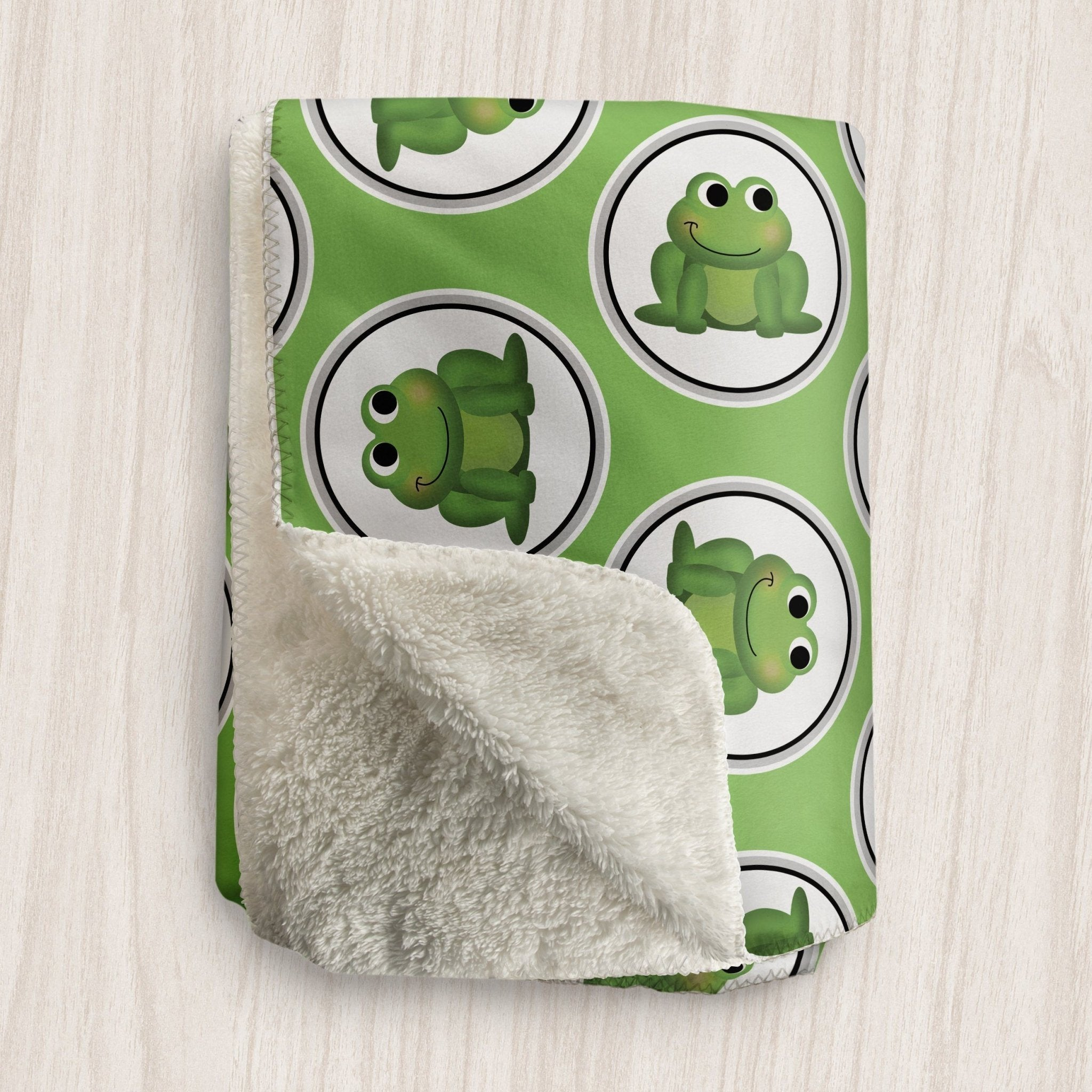 Adorable Frog Green Sherpa Fleece Blanket at Speckle Rock