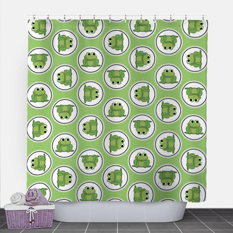 Adorable Frog Green Shower Curtain at Speckle Rock