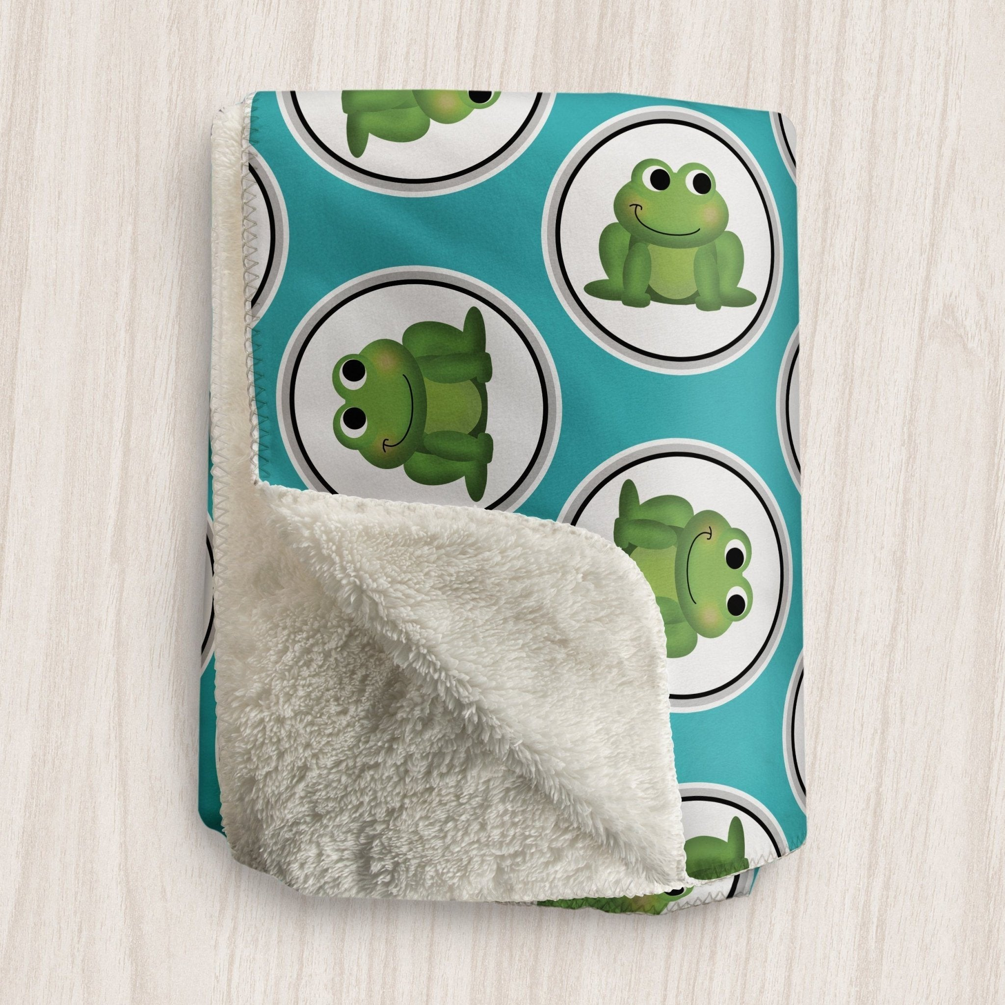 Adorable Frog Turquoise Sherpa Fleece Blanket at Speckle Rock