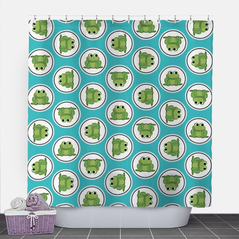 Adorable Frog Turquoise Shower Curtain at Speckle Rock