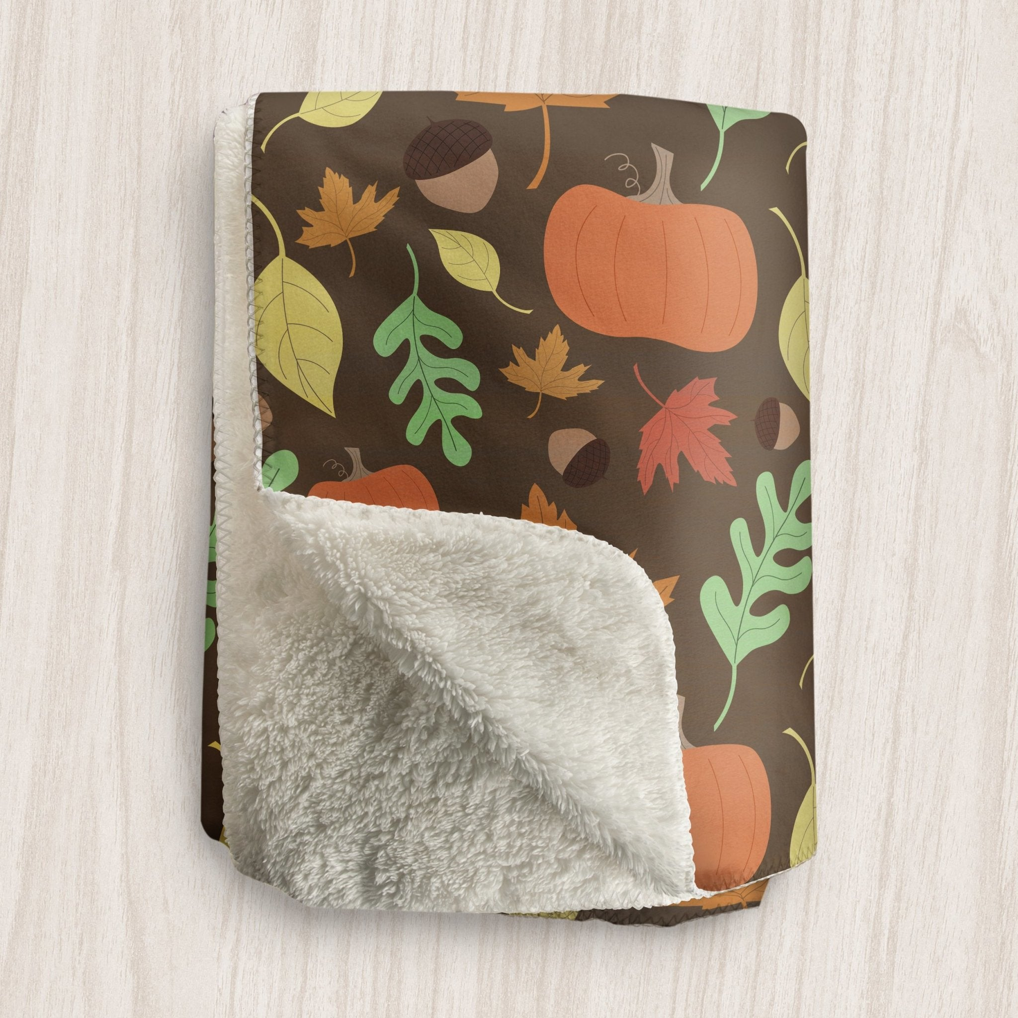 Autumn Pumpkins and Leaves Pattern Sherpa Fleece Blanket at Speckle Rock