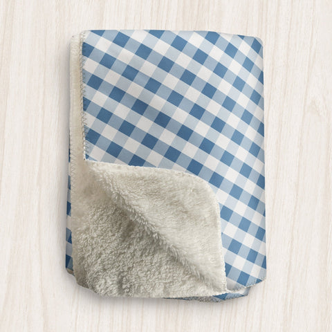 Blue Gingham Sherpa Fleece Blanket at Speckle Rock