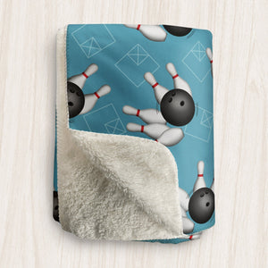 Bowling Ball and Pins Blue Sherpa Fleece Blanket at Speckle Rock