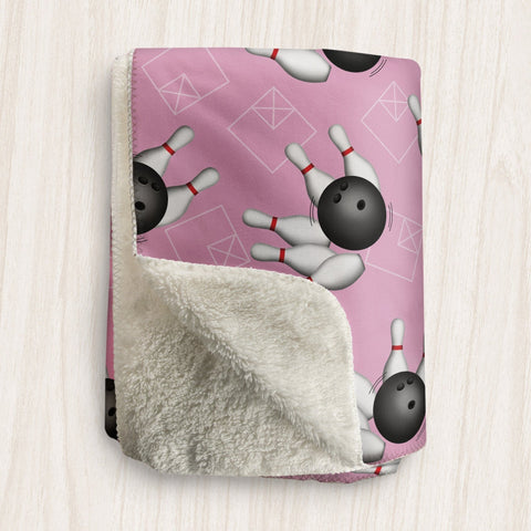 Bowling Ball and Pins Pink Sherpa Fleece Blanket at Speckle Rock