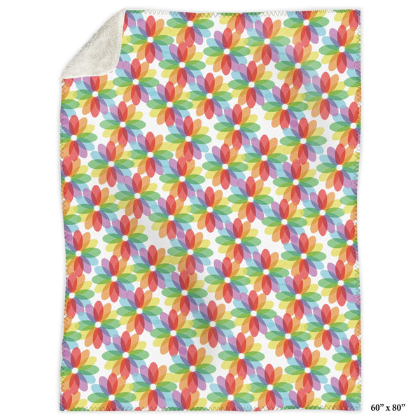 Color Lovers Rainbow Flower Sherpa Fleece Blanket at Speckle Rock