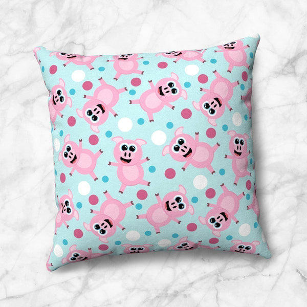 Cute Cartoon Pig Pink and Blue Throw Pillow at Speckle Rock