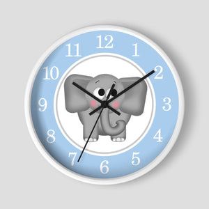 Cute Elephant Blue Nursery Wall Clock at Speckle Rock