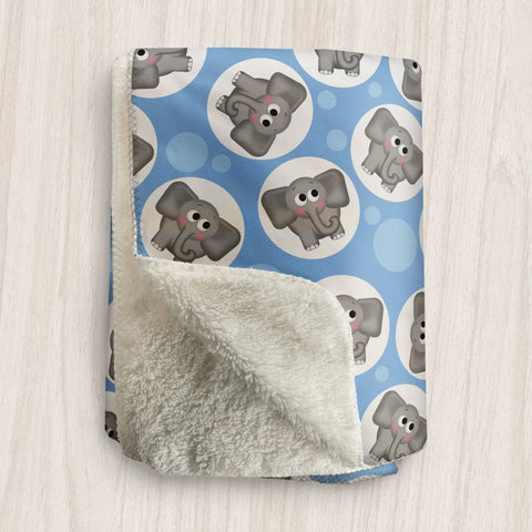 Cute Elephant Blue Sherpa Fleece Blanket at Speckle Rock