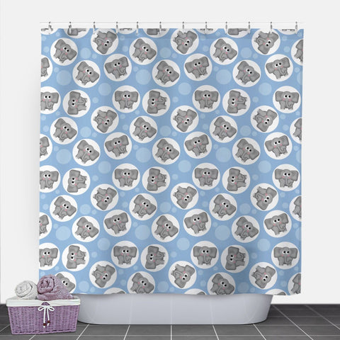 Cute Elephant Blue Shower Curtain at Speckle Rock
