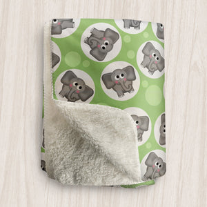 Cute Elephant Green Sherpa Fleece Blanket at Speckle Rock