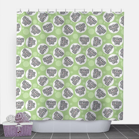Cute Elephant Green Shower Curtain at Speckle Rock