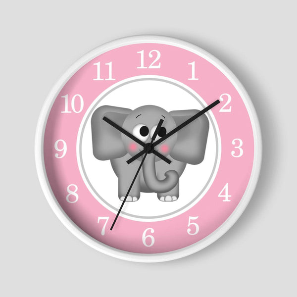 Cute Elephant Pink Nursery Wall Clock at Speckle Rock