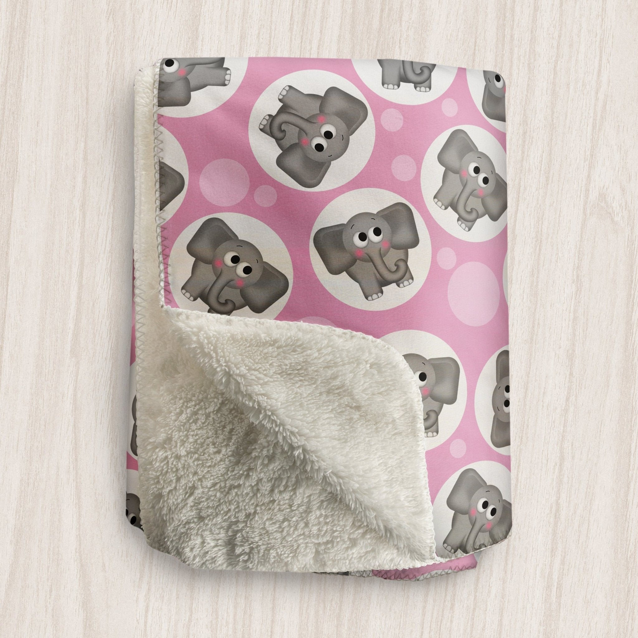 Cute Elephant Pink Sherpa Fleece Blanket at Speckle Rock