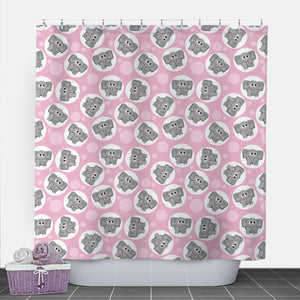 Cute Elephant Pink Shower Curtain at Speckle Rock