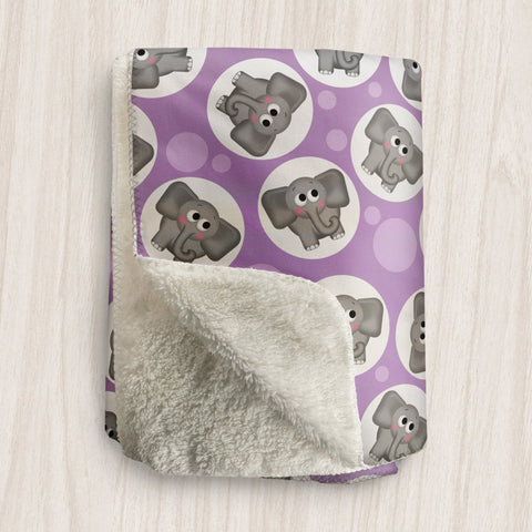 Cute Elephant Purple Sherpa Fleece Blanket at Speckle Rock