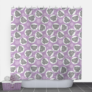 Cute Elephant Purple Shower Curtain at Speckle Rock