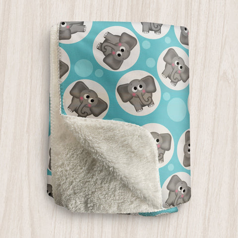 Cute Elephant Turquoise Sherpa Fleece Blanket at Speckle Rock