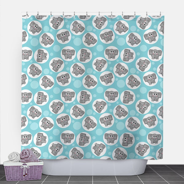 Cute Elephant Turquoise Shower Curtain at Speckle Rock