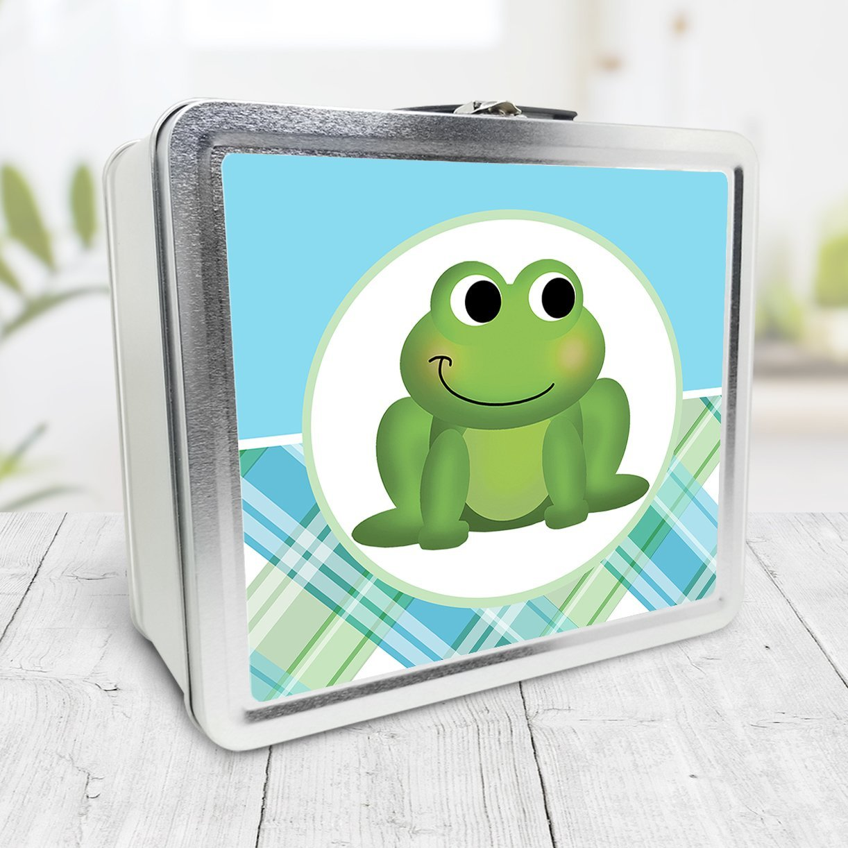 Cute Frog Green and Blue Plaid Lunch Box at Speckle Rock