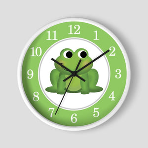 Cute Frog Green Nursery Wall Clock at Speckle Rock