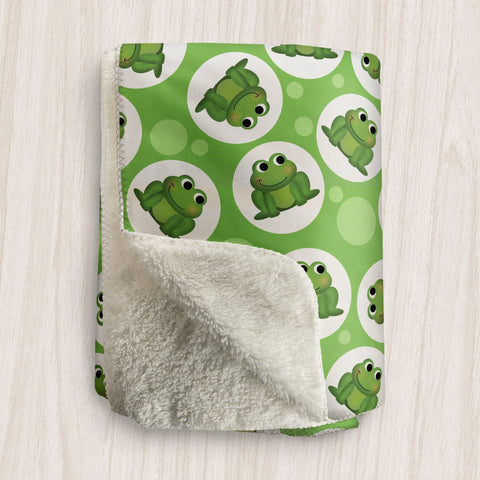 Cute Frog Green Sherpa Fleece Blanket at Speckle Rock