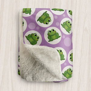 Cute Frog Purple Sherpa Fleece Blanket at Speckle Rock