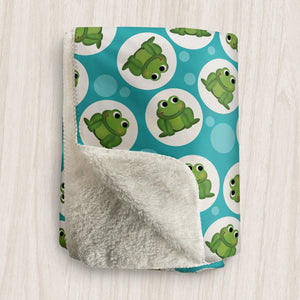 Cute Frog Turquoise Sherpa Fleece Blanket at Speckle Rock