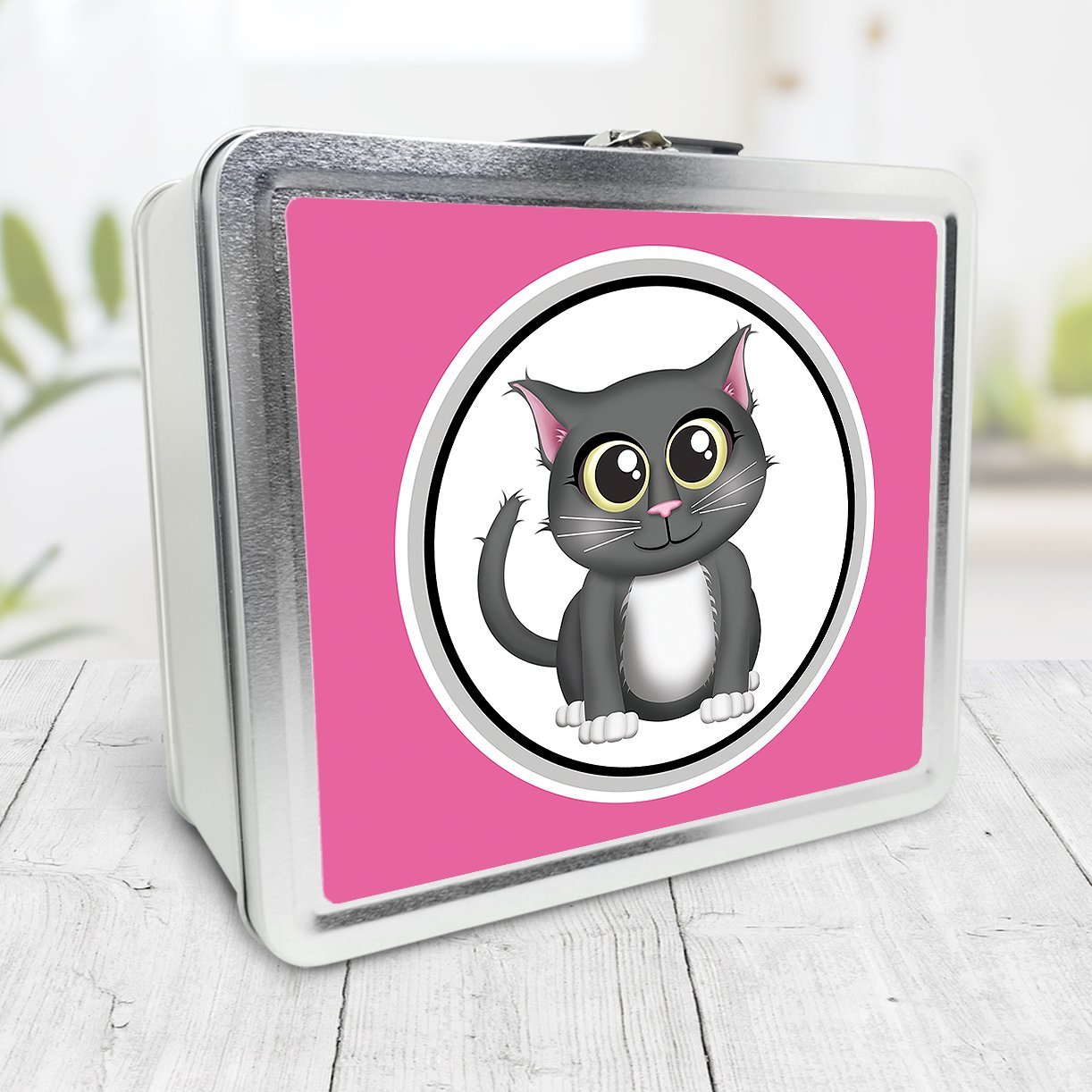 Cute Gray Cat Fuchsia Pink Lunch Box at Speckle Rock