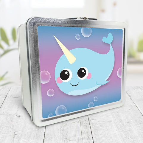 Cute Happy Narwhal and Bubbles Lunch Box at Speckle Rock