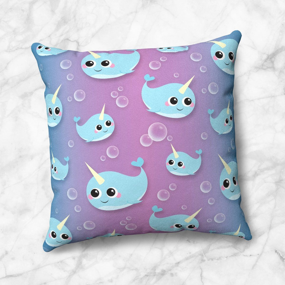 Cute Happy Narwhal Pattern Throw Pillow at Speckle Rock