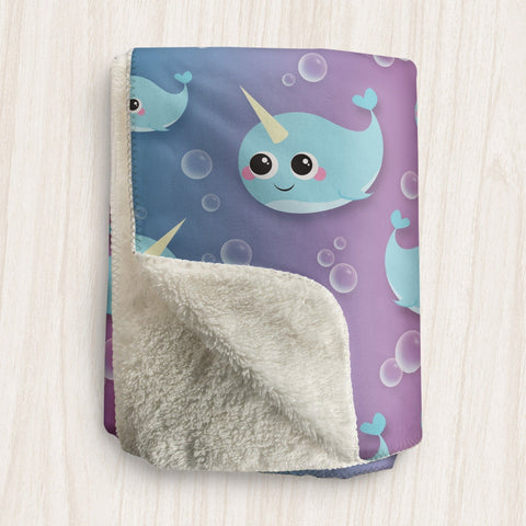 Cute Happy Narwhal Sherpa Fleece Blanket at Speckle Rock