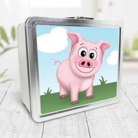 Cute Happy Pig on the Farm Lunch Box at Speckle Rock