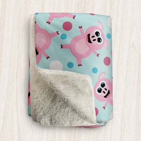 Cute Happy Pigs Sherpa Fleece Blanket at Speckle Rock