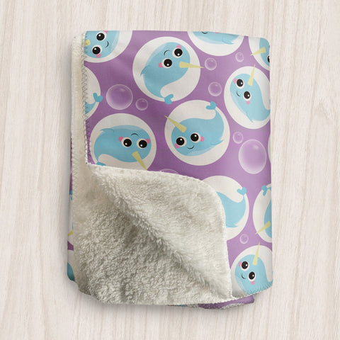 Cute Narwhal Purple Sherpa Fleece Blanket at Speckle Rock