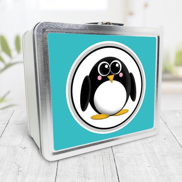 Cute Penguin Turquoise Lunch Box at Speckle Rock