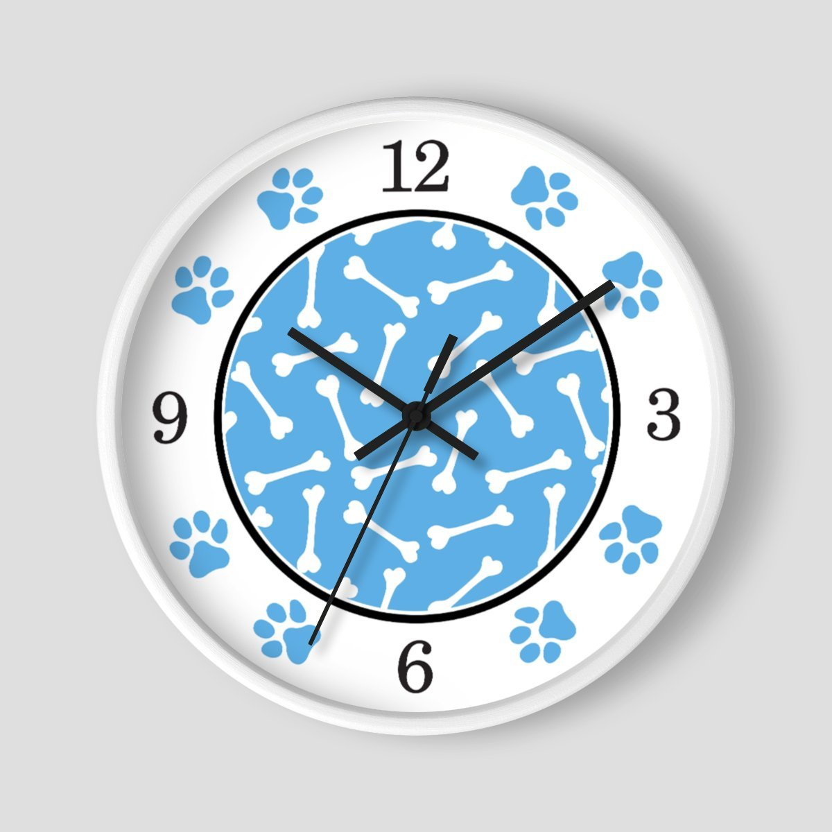 Dog Bone Blue Paw Print Wall Clock at Speckle Rock